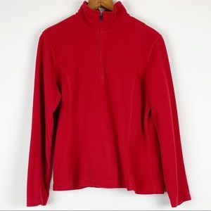 Land's End Fleece Pullover 1/4 Zip Thermacheck Red